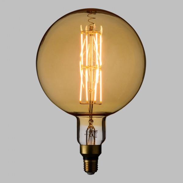 Lampada Led Con Estetica Vintage Maxi Globo 8w E27 Vetro Oro Dimmerabile