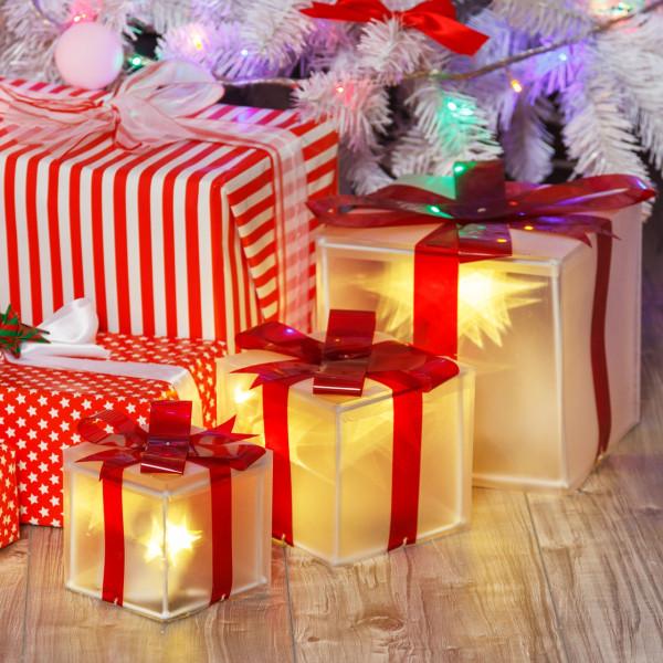 Pacchi Natale Luminosi.Set 3 Pacchi Regalo 3d A Batteria 2 Giochi Di Luce Selezionabili